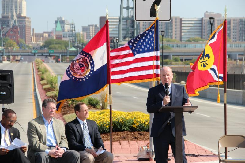Metro Transit President and CEO, John Nations, speaks during an event celebrating the refurbished Grand Ave. Bridge.