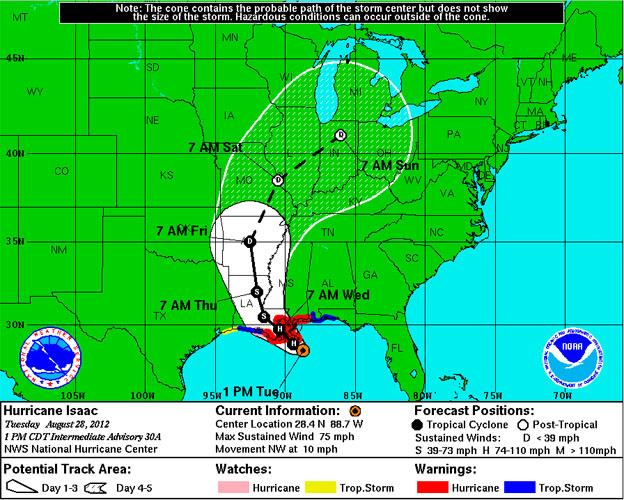 The projected path of Hurricane Isaac, and its aftermath, as of 1 p.m. CDT Aug. 28.