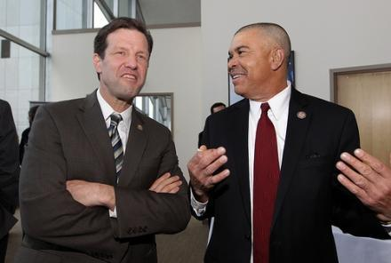 Russ Carnahan (at left) and William Lacy Clay have vowed to work together for the good of the Democratic Party in Missouri even after a bruising primary fight.