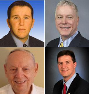 The candidates for the Republican primary in the Missouri Lt. Governor's race, from top to bottom, left to right: Mike Carter, Peter Kinder, Charles Kullmann, Brad Lager.