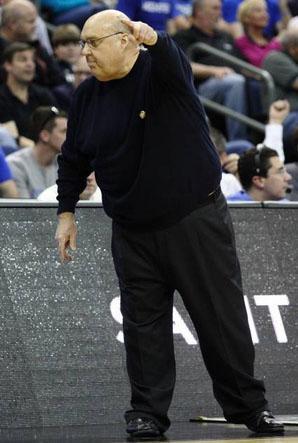 Rick Majerus coaches the Saint Louis University men's basketball team on March 17, 2012.