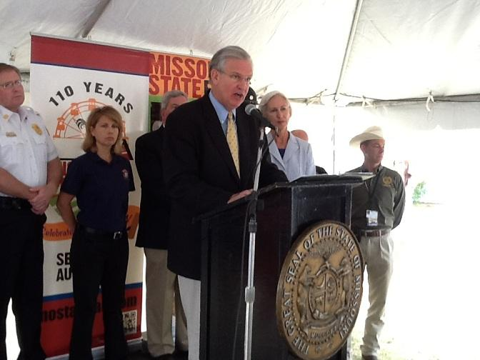 Gov. Jay Nixon (D) addresses the media at the 2012 Missouri State Fair.