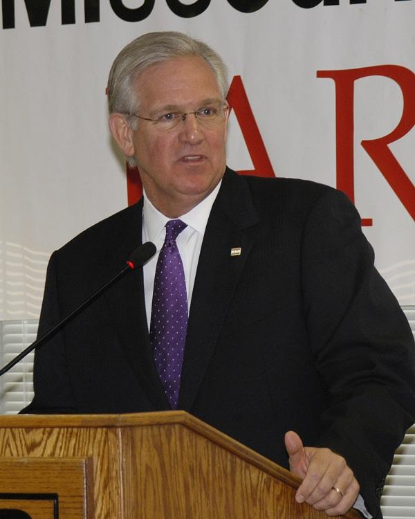 Jay Nixon (D), addresses Mo. Farm Bureau members Aug. 10, 2012.  Nixon is seeking a second term as Mo. Governor.