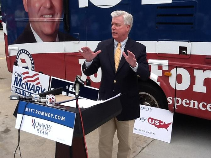 GOP nominee for Lt. Governor, Peter Kinder, addresses the crowd.