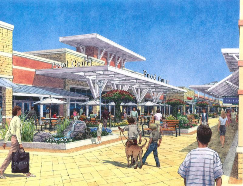 Another view of a rendering of plans for Taubman Prestige Outlets, which are under construction in Chesterfield, Mo.