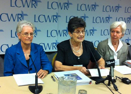 Franciscan Sister Pat Farrell, center, president of the Leadership Conference of Women Religious, at a press conference on Aug. 10, 2012 in St. Louis.