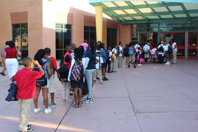 Students filing in for the first day of school at Gateway Elementary School in St. Louis.
