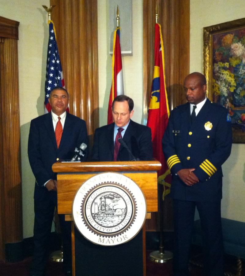 L-R Congressman William Lacy Clay, Mayor Slay, Police Chief Dan Isom