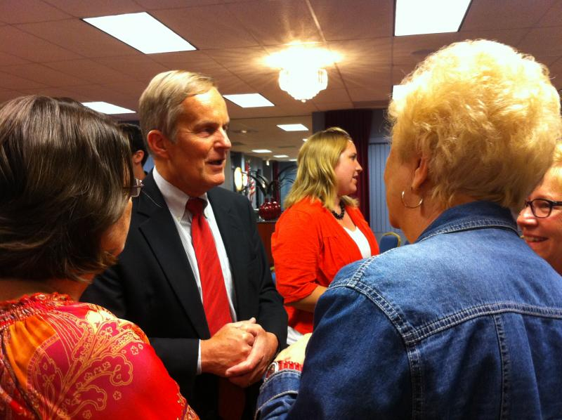 "Congressman Akin engages the crowd following his ""Missouri Women Standing with Todd Akin"" rally."