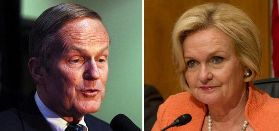 Incumbent Democrat Claire McCaskill (right) and Congressman Todd Akin (left).