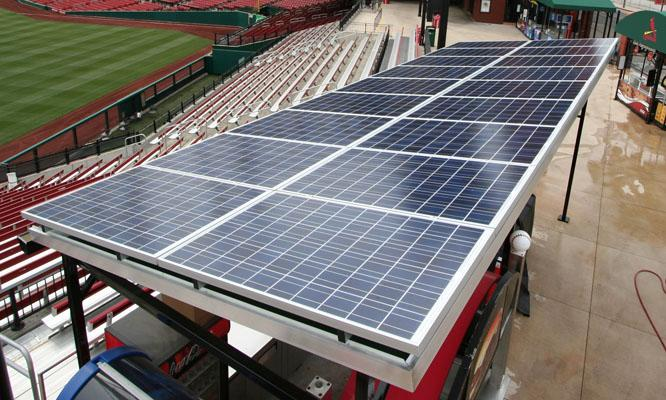 This year a 106-panel solar array was installed at Busch Stadium, above a ticket building and concession area.