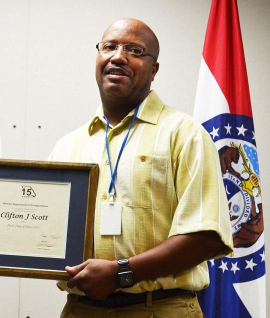 Clifton Scott, 50, at a ceremony on Sept. 17th, 2012, recognizing his 15 years as a MoDOT employee.  He was killed four days later on I-70 in Independence while working at the scene of a 4-vehicle crash.