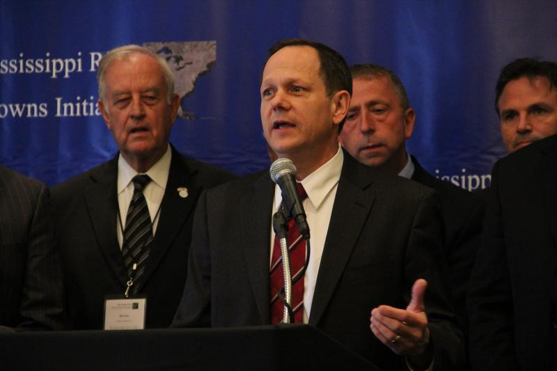 St. Louis Mayor Francis Slay speaks during the kick off event for the Mississippi River Cities and Towns Initiative