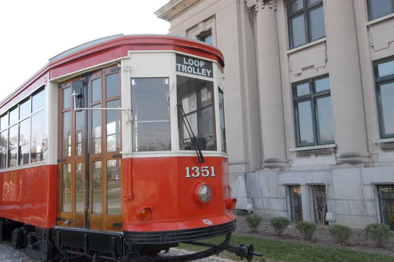 Trolley car from the 1920s on the north lawn of the Missouri History Museum in Forest Park. This streetcar, along with an accompanying streetcar at Commerce Bank in the Loop, will be on display until the Loop Trolley system opens.