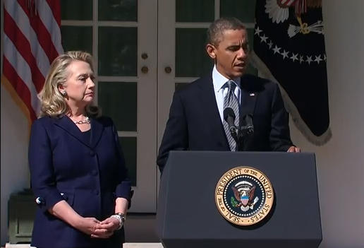 President Obama speaks about the attack on the US consulate in Libya on Sept. 12, 2012. Secretary of State Hillary Clinton accompanied Obama for the statement.