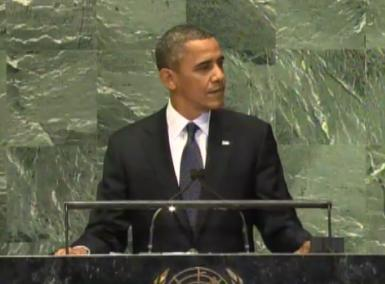President Barack Obama speaks to the United Nations on Sept. 25, 2012.