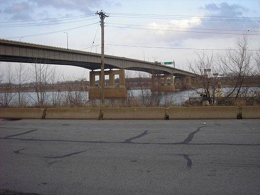 The Poplar Street Bridge.
