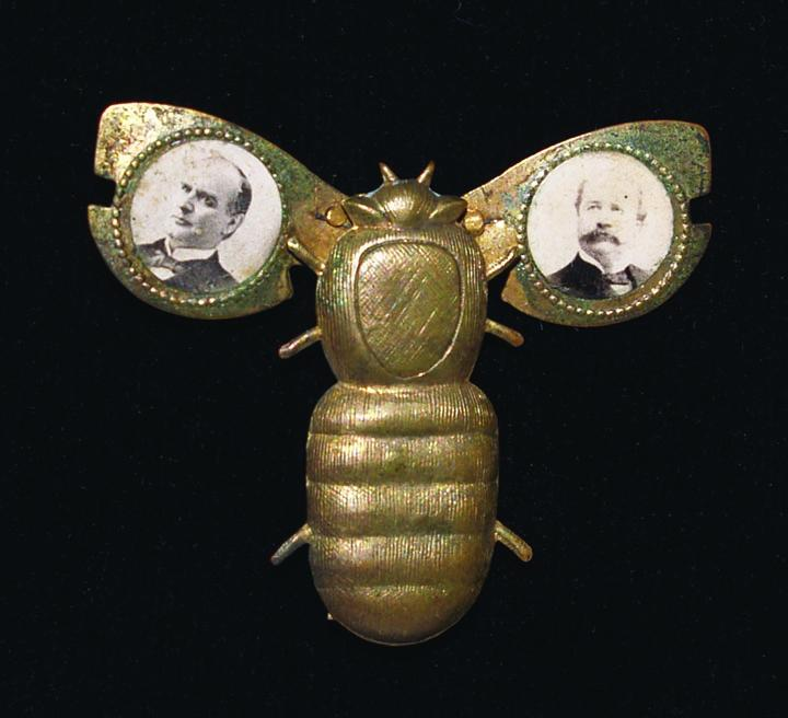 This gold bug pin comes from the 1896 presidential campaign by Republican presidential candidate William McKinley, who supported the gold standard.  At one time the wings would actually flap.