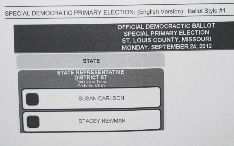 A posted notice lists the names of the two candidates in the special election in the 87th District in St. Louis County - an election held because of ballot irregularities.