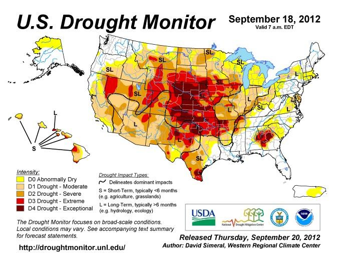 U.S. Drought Monitor map, as of Sept. 18th, 2012.
