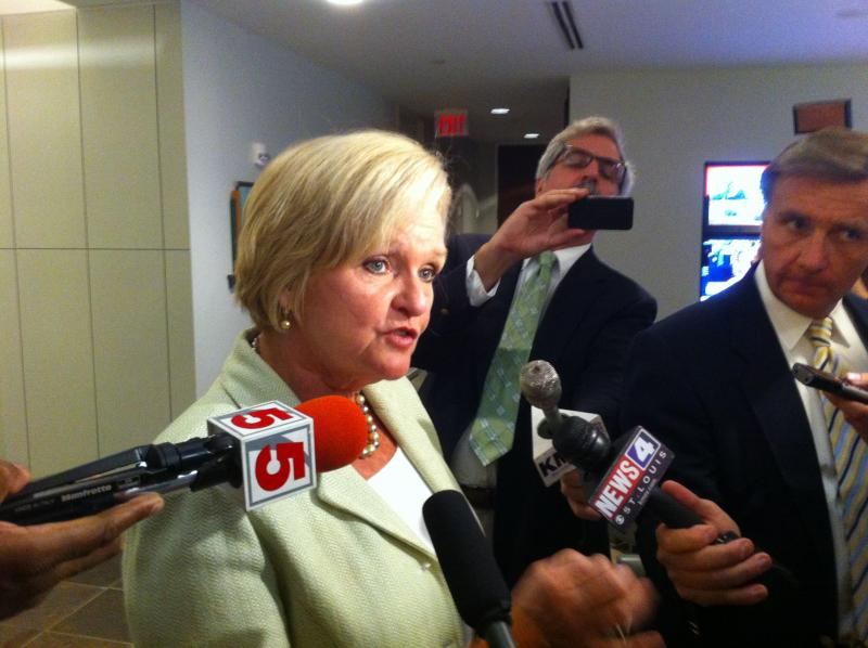 Senator McCaskill fields questions from reporters before the RCGA meeting.