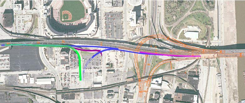 Lane and ramp upgrade designs for Poplar Street Bridge vincinity