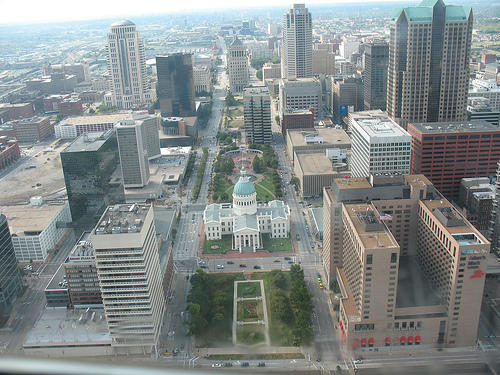 The St. Louis skyline taken from the Arch.