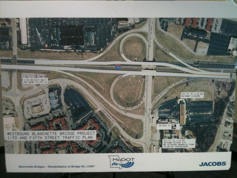 A MoDOT diagram of the highway configuration during the Blanchette Bridge project.