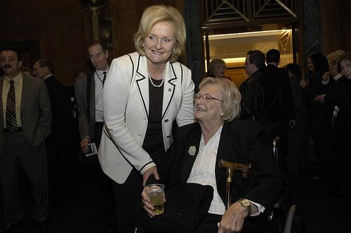 Betty Anne McCaskill (seated), mother of Sen. Claire McCaskill (D-Mo.) (standing) has died at the age of 84. This photo was taken following Sen. McCaskill's swearing-in ceremony in 2007.