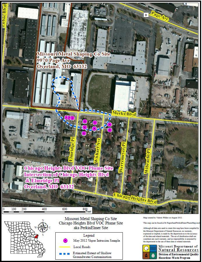 A map illustrating the contamination and plume area of the Chicago Heights site.
