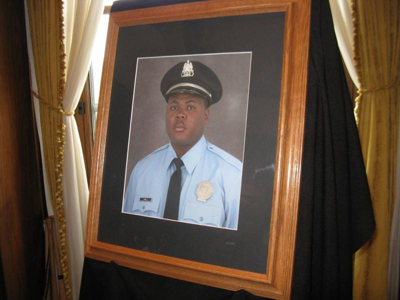 A portrait of SLMPD officer Daryl Hall, who was killed in the line of duty on Apr. 24th, 2011.  Hall was posthumously awarded the Medal of Valor on Oct. 11, 2012.