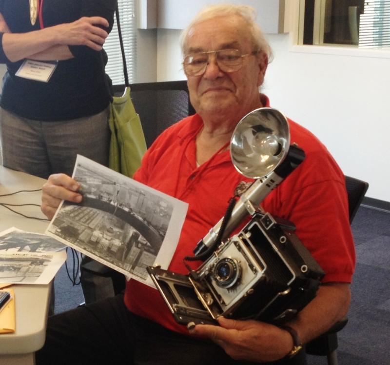 Photographer Eldon Arteaga with his Crown Graphic Camera