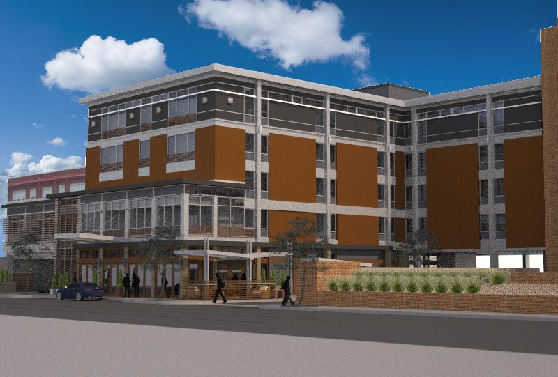 An artist's rendering of the new Hampton Inn & Suites to be built at site of the former Daniele Hotel in Clayton.