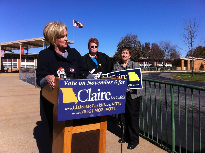 Senator Claire McCaskill talks to reporters outside of Bayless Elementary.