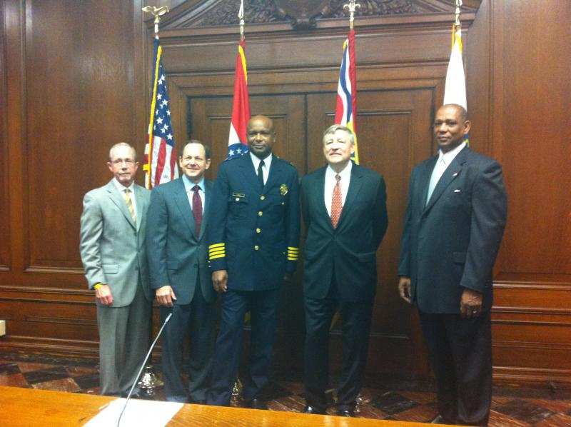(L-R) Commissioner Tom Irwin, Mayor Slay, Chief Isom, Commissioner Erwin Switzer, and Commissioner Richard Gray