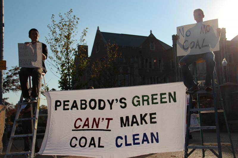 Activists rally at Washington University as part of a week of protests against Peabody Coal.