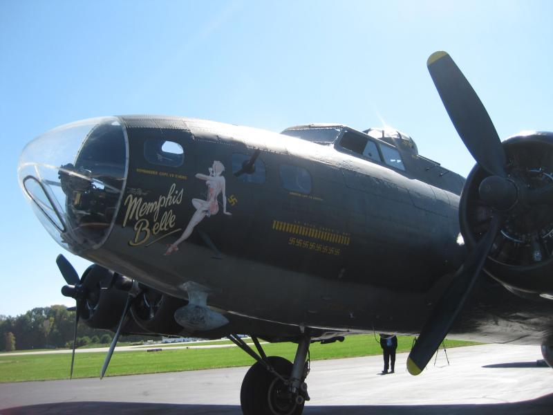 """The Memphis Belle on the tarmac at Spirit before takeoff. The plane is named for a legendary World War II craft, and is one of just 10 """"flying fortresses"""" still in operation."""