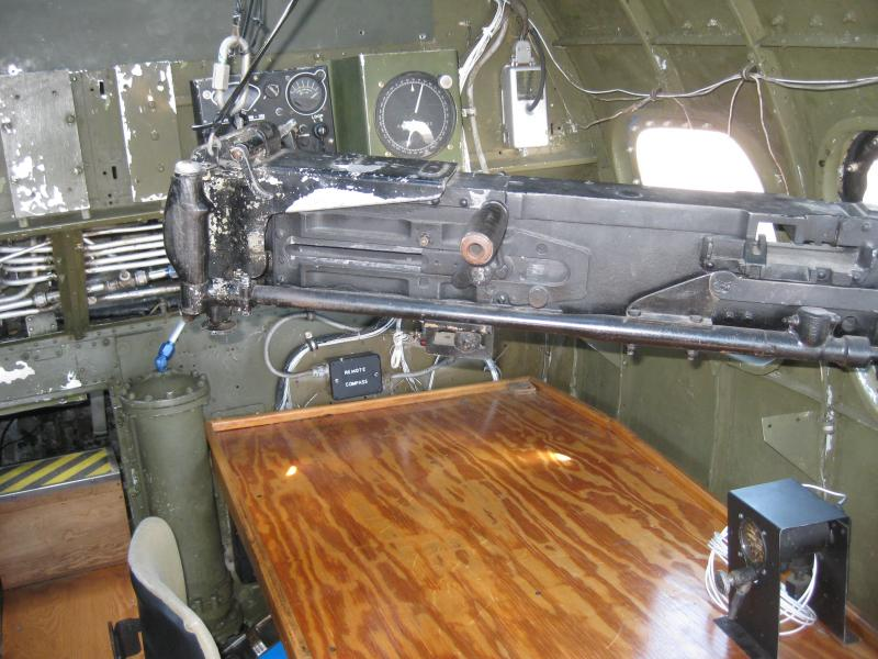 This is where Nicholson, a navigator, would have sat during his 26 combat missions over Europe.