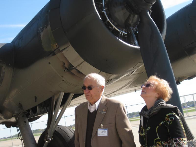 Nicholson and his wife Betty June after the flight from Spirit Airport to Lambert Airport.