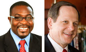 (L) Aldermanic President Lewis Reed, (R) Mayor Francis Slay