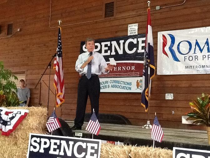 Mo. U.S. Senator Roy Blunt (R) gave the introductory speech before Spence took the stage.  Blunt filled in for Wisconsin Governor Scott Walker, who canceled his appearance following a deadly shooting rampage near Milwaukee.