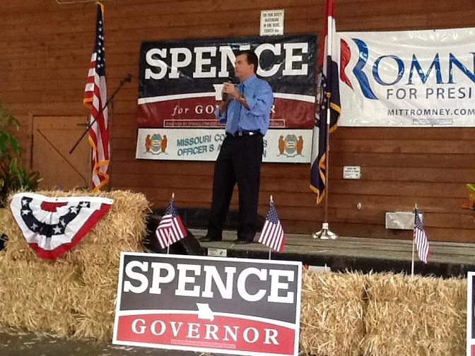 Spence addresses supporters at a campaign rally in Jefferson City on 10-22-2012.