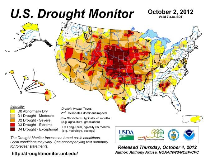 U.S. Drought Monitor map, as of Oct. 4th, 2012.