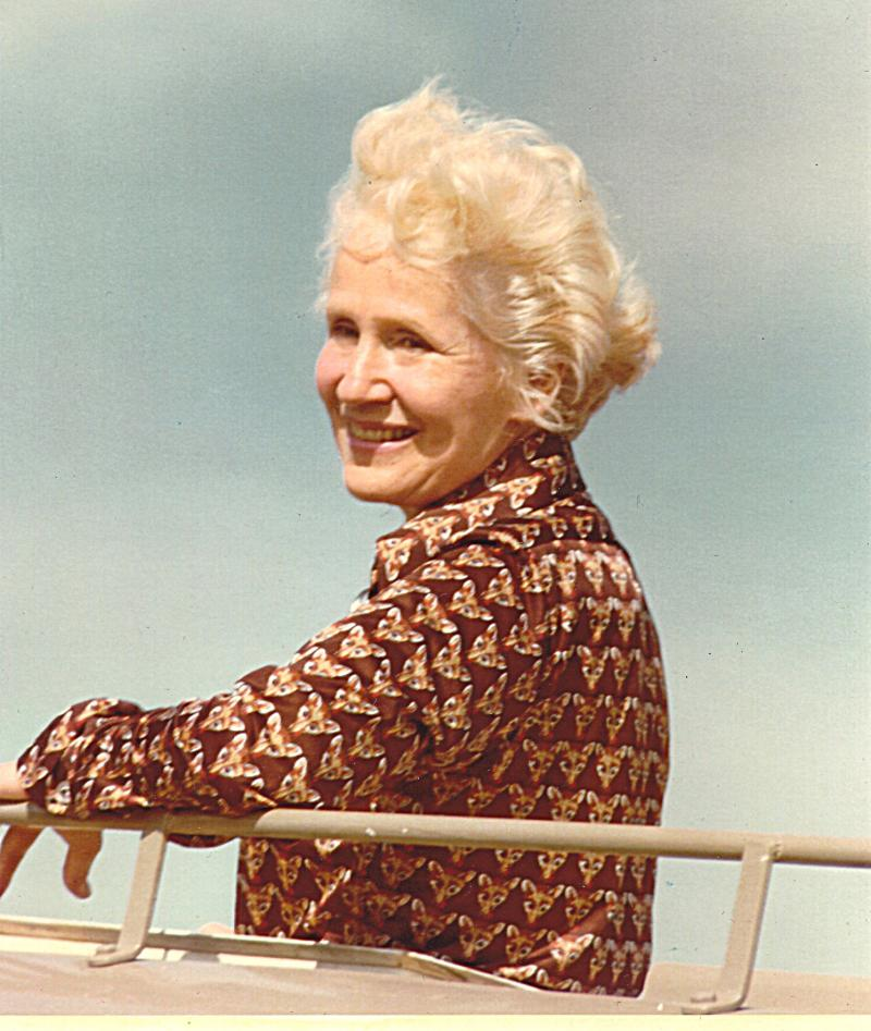 Carol Perkins while on safari in East Africa In the early 1980s. Perkins has died at the age of 95.