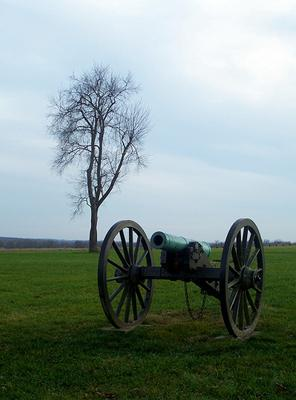 A cannon sits on what is now Wilson's Creek National Battlefield near Springfield, MO