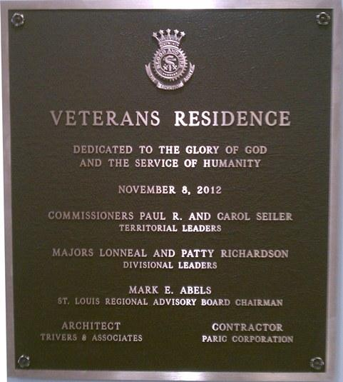 Veterans Residence plaque