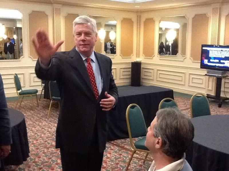 Twitter picture of Peter Kinder (R) at his victory party in Creve Cour, about 12 minutes before Susan Montee (D) conceded the Mo. Lt. Governor's race.
