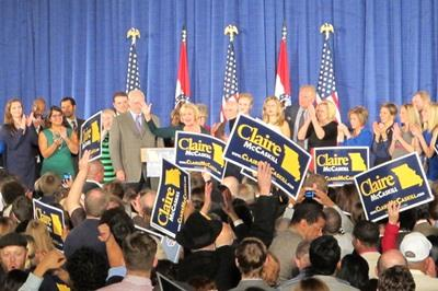 Claire McCaskill gives her victory speech on Nov. 6, 2012 in St. Louis.