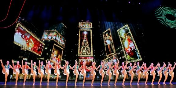 Rockettes full kick line for Christmas Spectacular