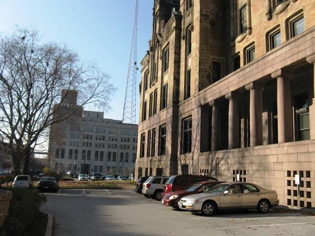 City Hall (foreground) and police headquarters (background).